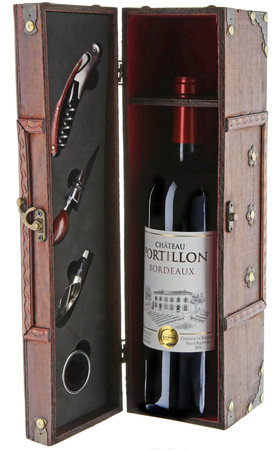 Red Wines - Wood Bordeaux Crate + 4 instruments