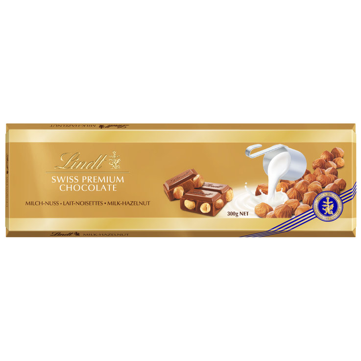 Milk with Nuts - Lindt Milk Chocolate Bar with Hazelnuts