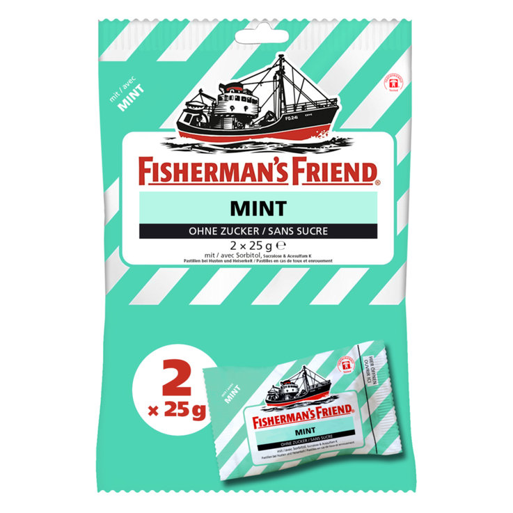 Herbal & Cough Sweets - Fisherman's Friend Mint Throat Lozenges 2 Packs