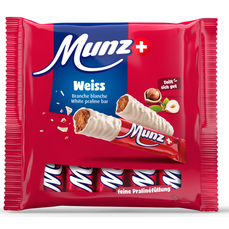 Chocolate Bars - Munz White Chocolate Bars with Praline Filling 5x23g