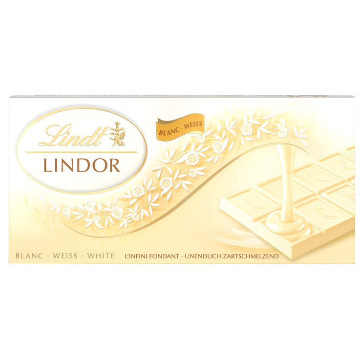 White - Lindt Lindor White Chocolate Bar with a Melting Filling