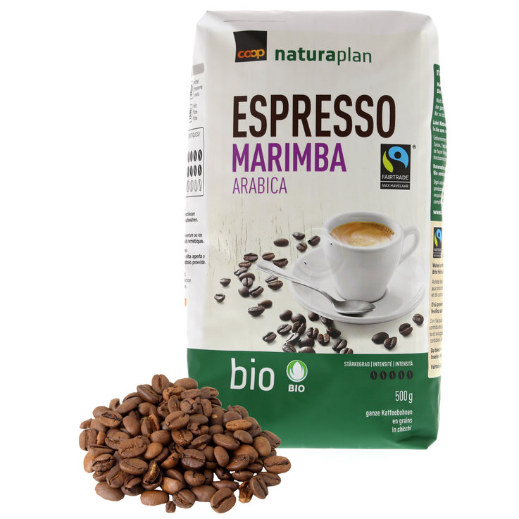 Café en grains - Naturaplan Bio Fairtrade Grains de café Espresso Marimba