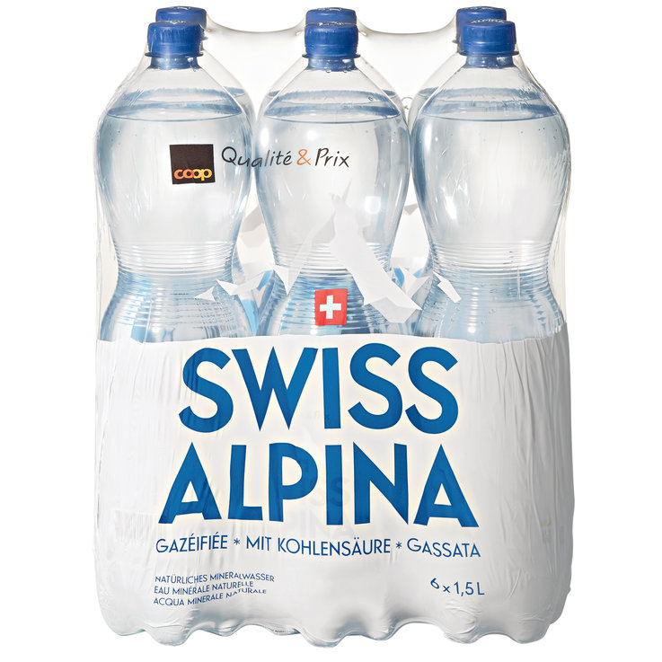 Multipacks more than 1 Liter - Swiss Alpina Blue Carbonated Mineral Water 6x1.5l