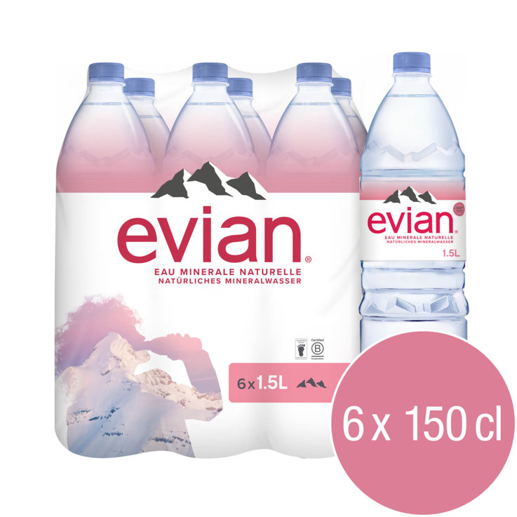 Multipacks more than 1 Liter - evian Non Carbonated Mineral Water 6x1.5l