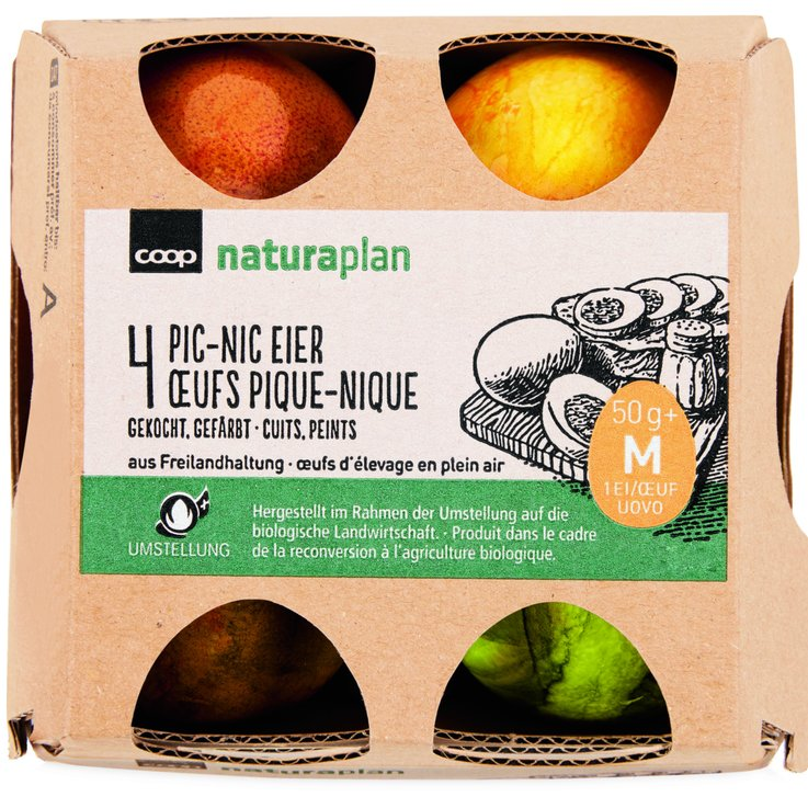 Hard-Boiled Eggs - Naturaplan Organic Swiss Pic-nic Eggs 50g+ 4 Pieces