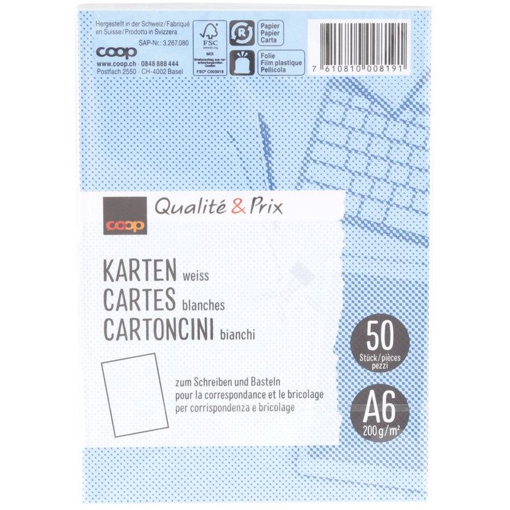 Index cards - FSC A6 White Writing Cards 50 Pieces 50PCE