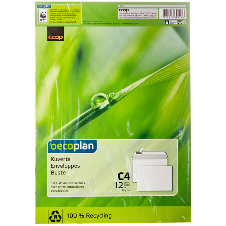 Office Supplies - Oecoplan C4 Envelopes 12 Pieces