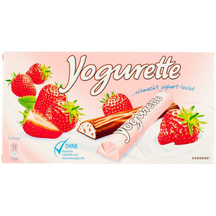 Chocolate Bars - Yogurette Milk Chocolate with Strawberry Filling 8 Pieces