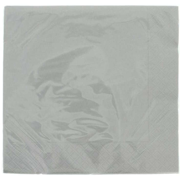 Napkins - Silver Coloured Solid Paper Napkins 40x40cm