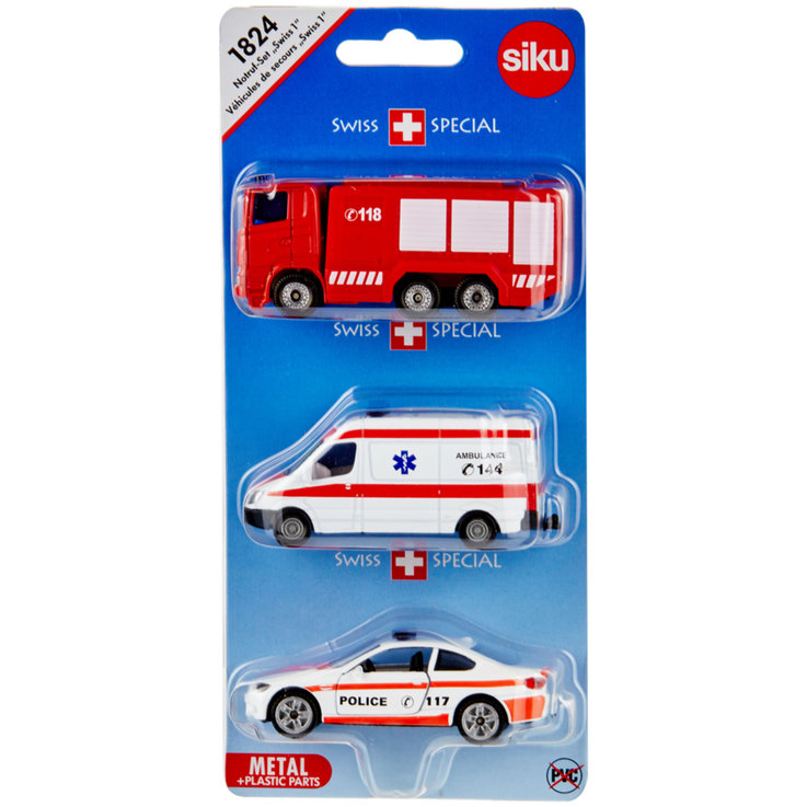 Cars & Vehicles - Siku Swiss Police, Amulance & Fire Vehicles 3 Years+