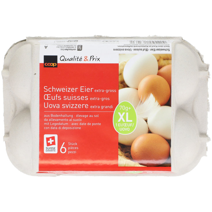 Raw Eggs - Swiss Extra Large Barn Eggs 70g+ 6 pieces