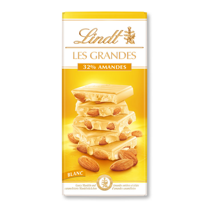 White - Lindt Les Grandes White Chocolate Bar with 32% Almonds