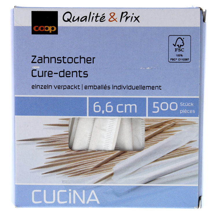 Louches & Broches - Cure-dents emballés individuellement 66mm