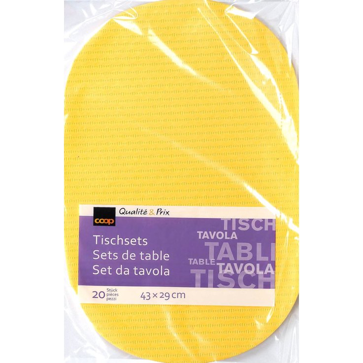 Tablecloths & Placemats - Tela Yellow Place Mat 20 per pack
