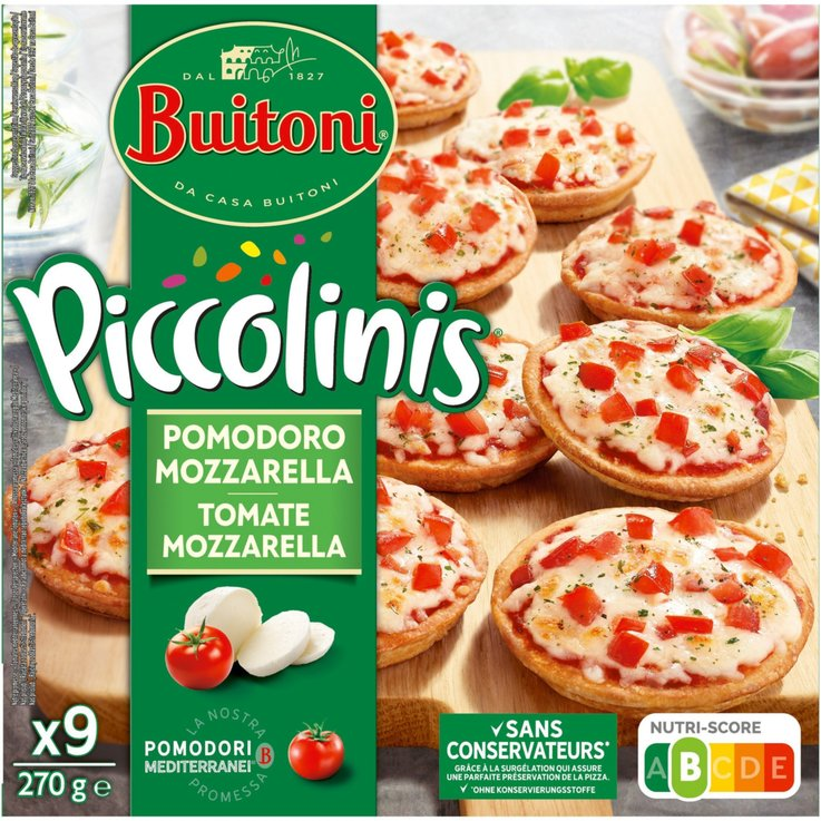 Frozen Snacks - Buitoni Piccolinis Frozen Mini Tomato & Mozzarella Pizzas 9 Pieces