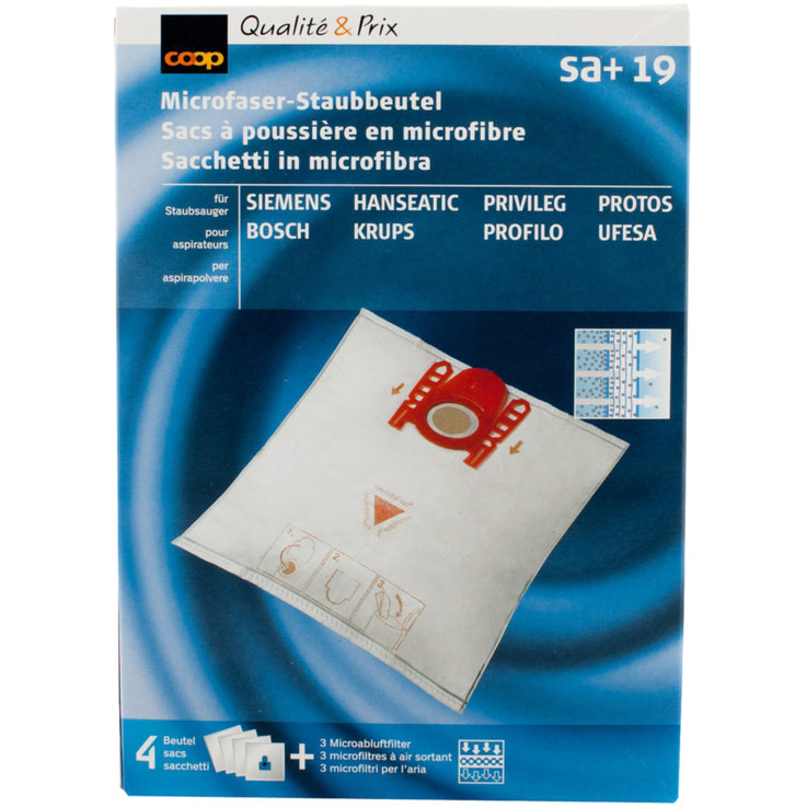 Vacuum Cleaner Bags - SA+19 Microfiber Vacuum Cleaner Bags 4 Pieces
