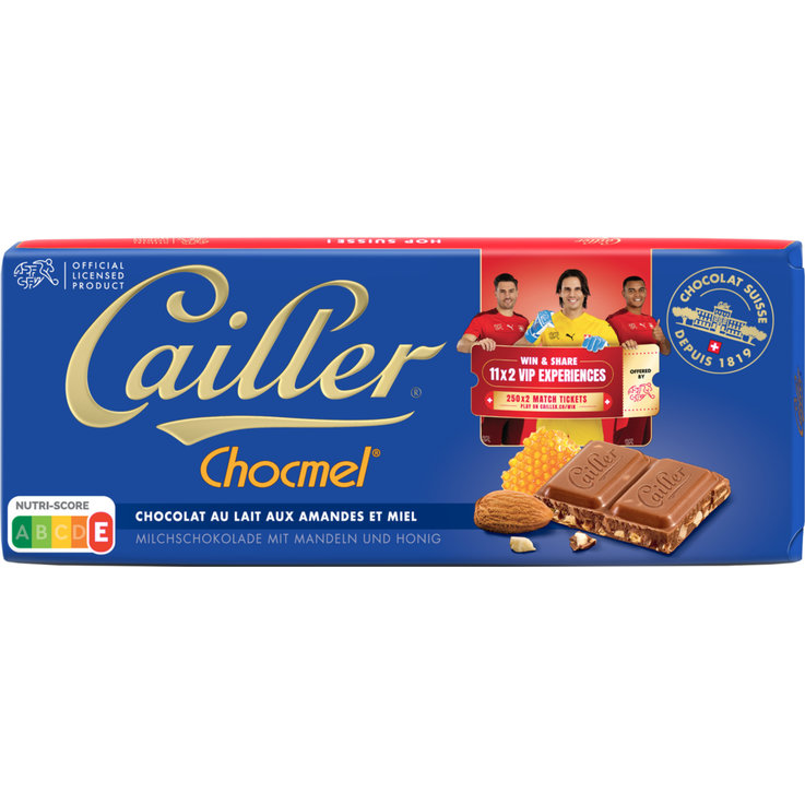 Milk with Ingredients - Cailler Chocmel Milk Chocolate Bar with Almonds & Honey
