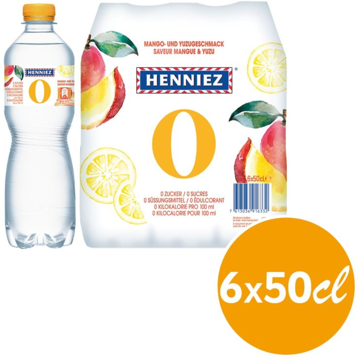 Multipacks under 1 Liter - Henniez Lightly Carbonated Mango Yuzu Mineral Water 6x50cl