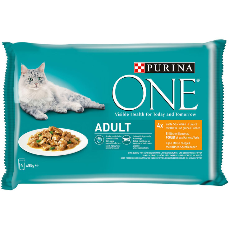 Nourriture humide - One Aliment au poulet en sauce pour chat adulte 4x85g