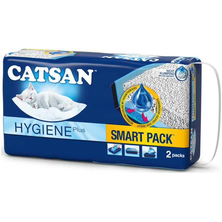 Non Clumping - Catsan Smart Pack Hygienic Litter with Ultra Absorbant Layer 2 Packs