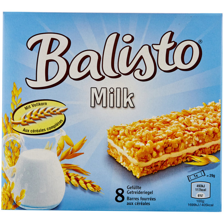 Bars without Chocolate - Balisto Milk Cereal Bars 8 Pieces