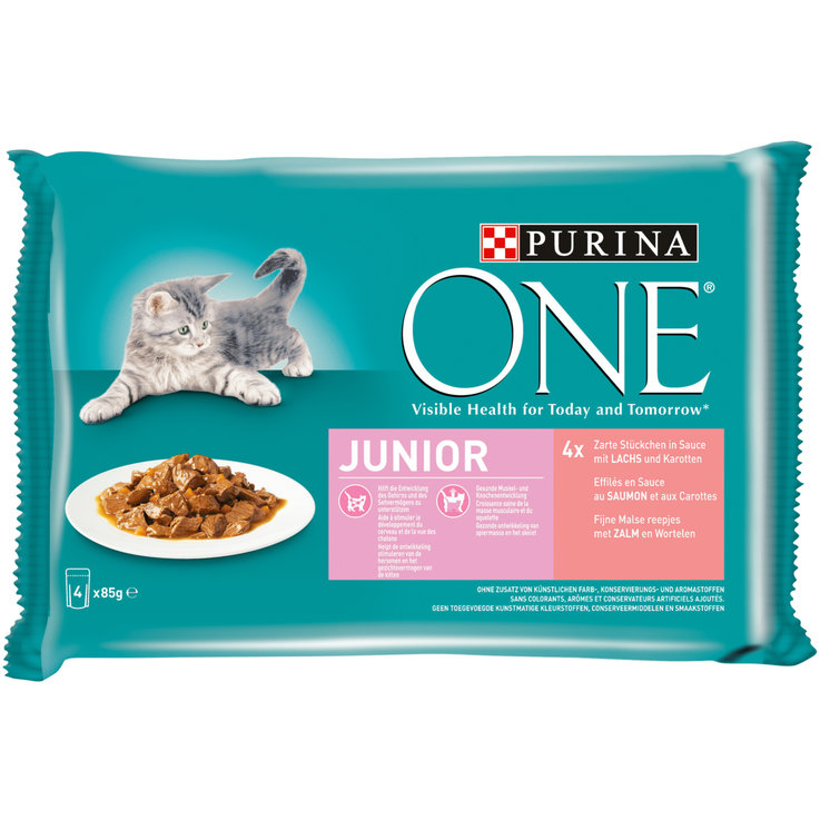 Nourriture humide - One Terrines au saumon en sauce pour chat junior 4x85g