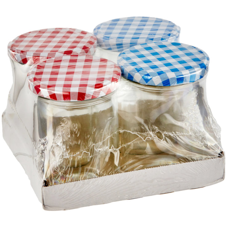Preserving Jars & Ice Trays - Jam Jars with Twist-Off Lid 440 ml Pack of 4