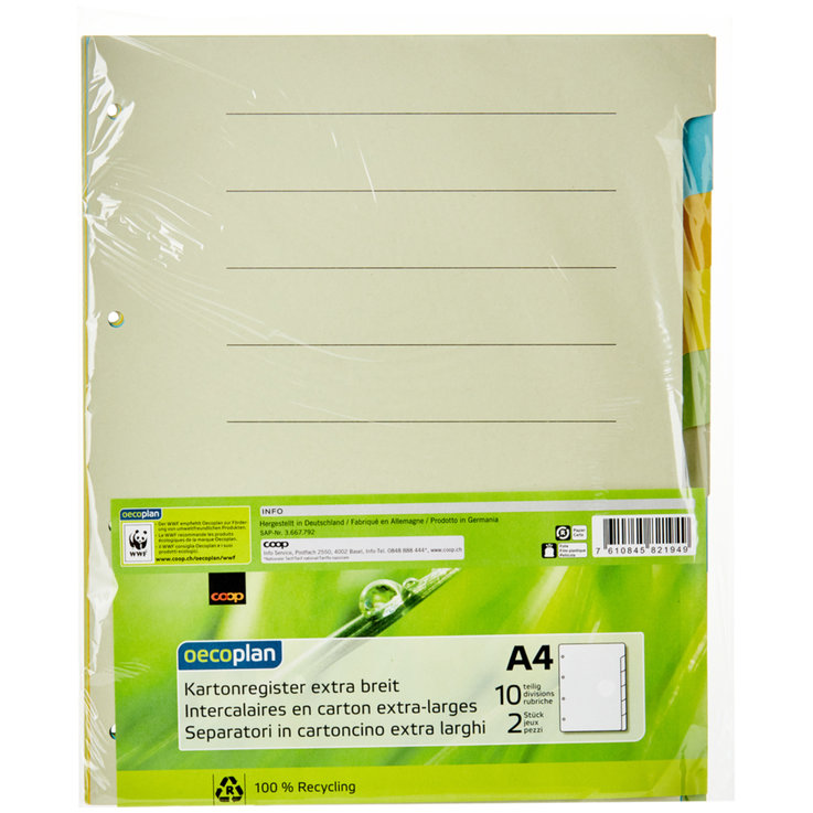 Register - Oecoplan A4 Extra Wide Cardboard Dividers 2x10 Pieces