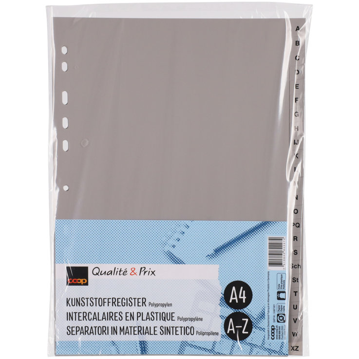 Register - A4 Grey A-Z Plastic Folder Dividers