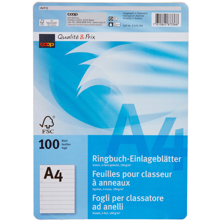 Office Supplies - A4 FSC Perforated Lined Loose Leaf