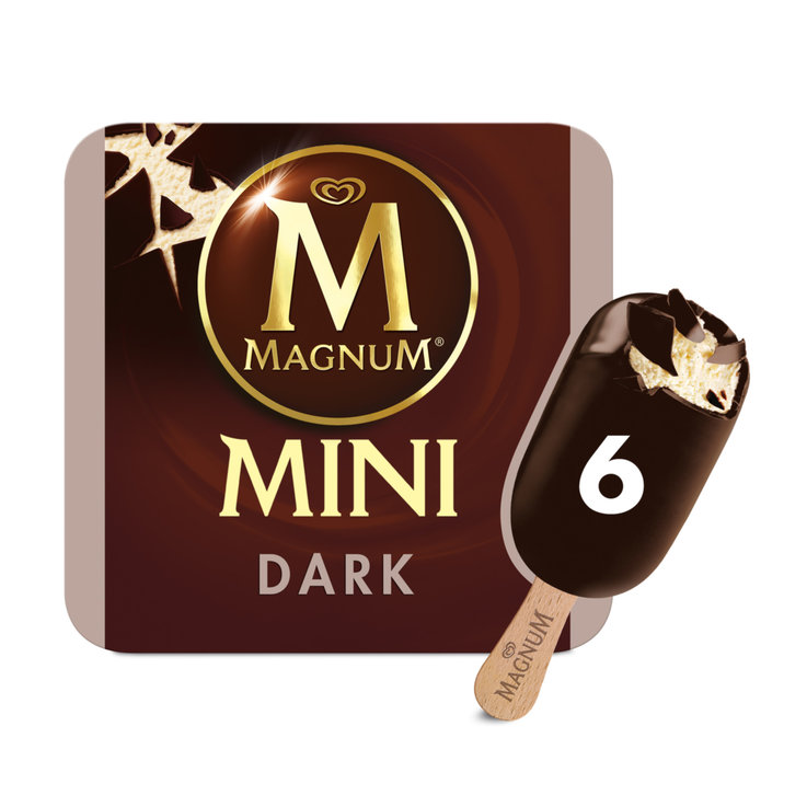 Ice Cream Bars - Magnum Mini Dark Chocolate Ice Cream Bars 6 Pieces