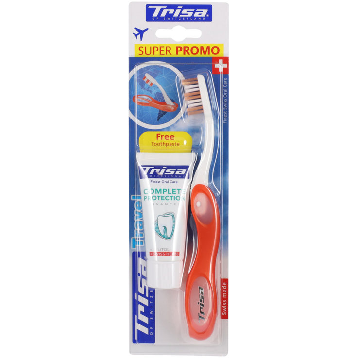 Toothbrushes for Adults - Trisa Travel Toothbrush with Toothpaste