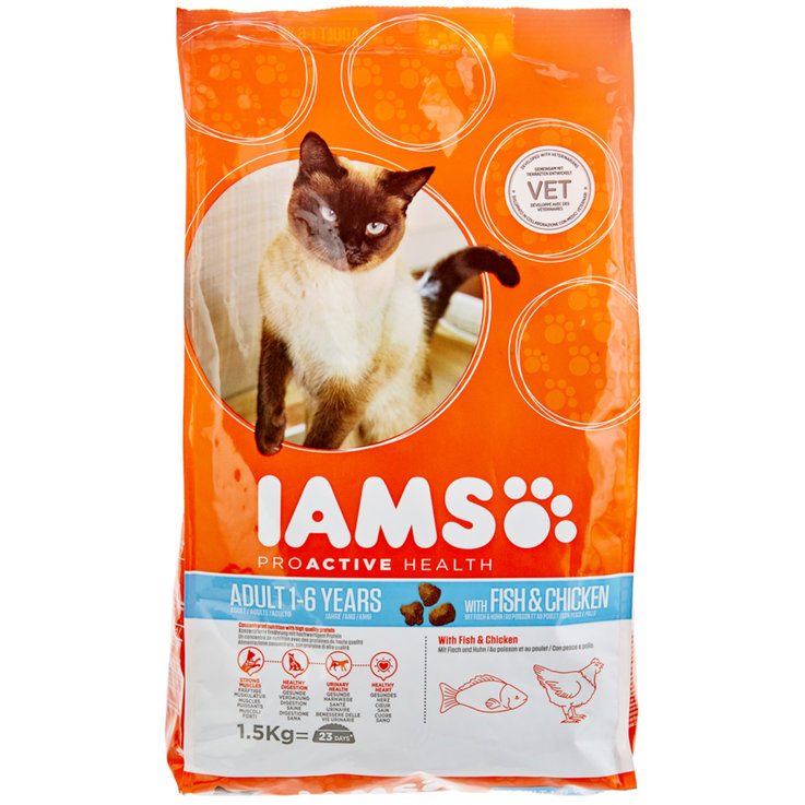 Dry Food - IAMS with Fish & Chicken for Adult Cats 1.5 kg