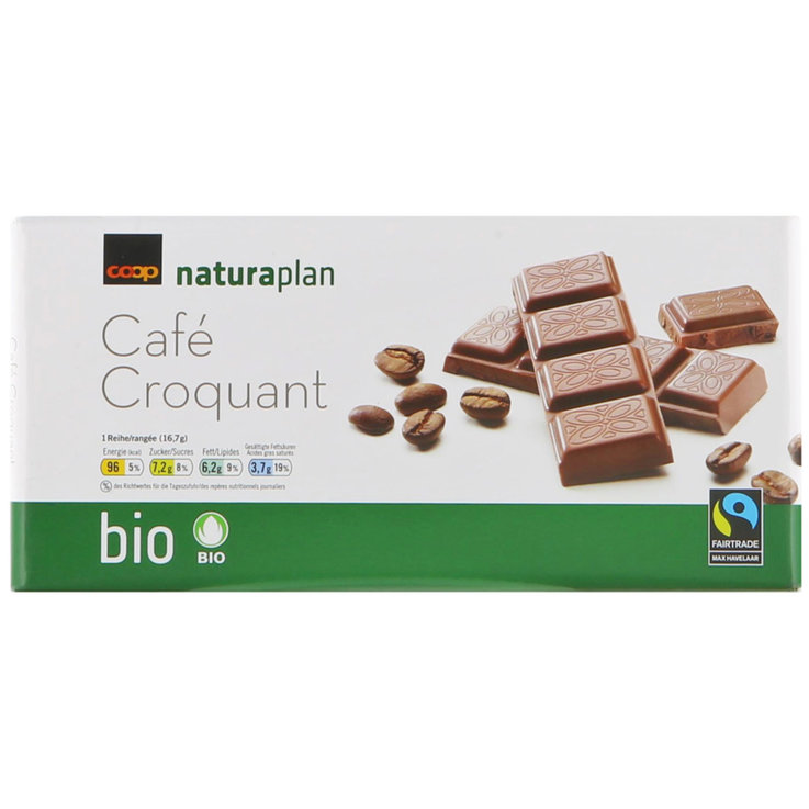Milk with Ingredients - Naturaplan Organic Fairtrade Milk Chocolate Bar with Crunchy Coffee