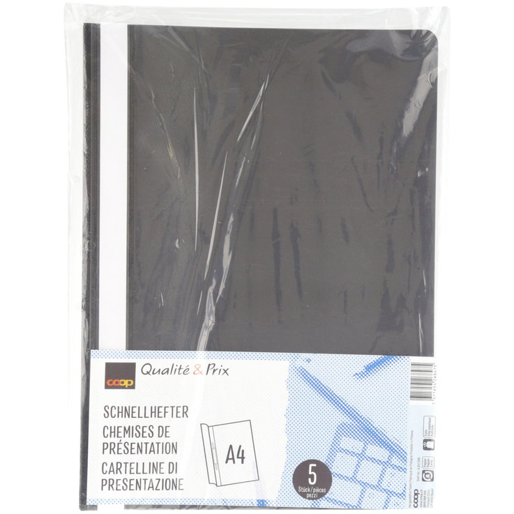 Mappen - 5 A4 Folders PP Black