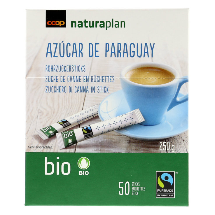 Sugar & Cane Sugar - Naturaplan Organic Fairtrade Raw Sugar Cane Packets 50 Pieces