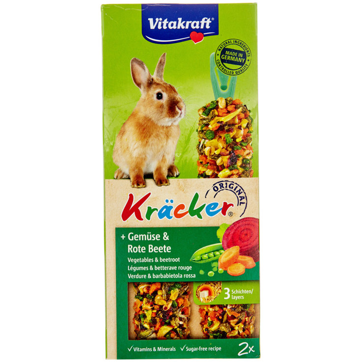 Rabbits - Vitakraft Kräcker® Vegetables & Beetroot for Dwarf Rabbits Pack of 2