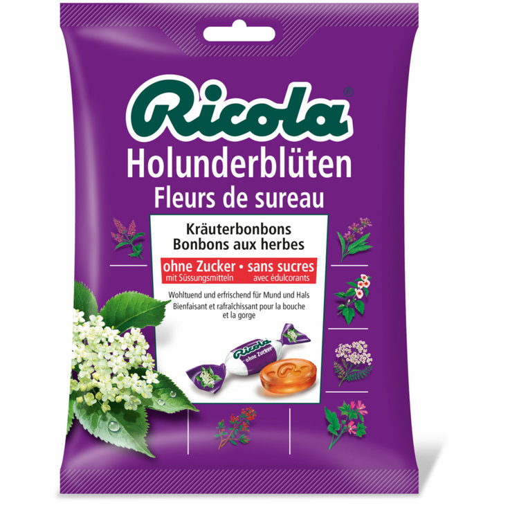Herbal & Cough Sweets - Ricola Sugarfree Elder Flower Lozenges