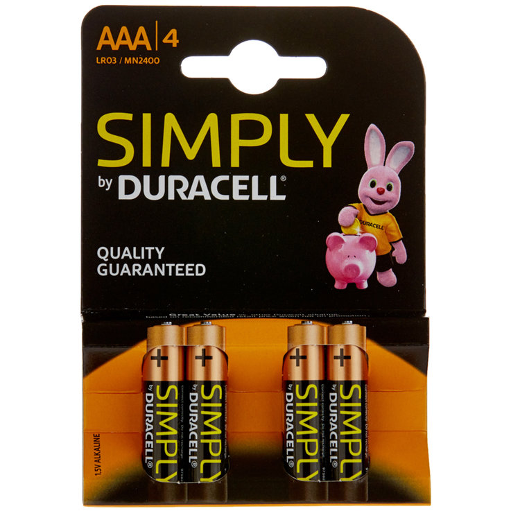 AAA - Duracell Piles Simply AAA/LR03 4 pièces