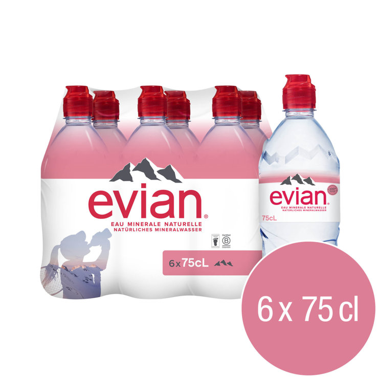 Multipacks under 1 Liter - evian Non Carbonated Mineral Water 6x75cl