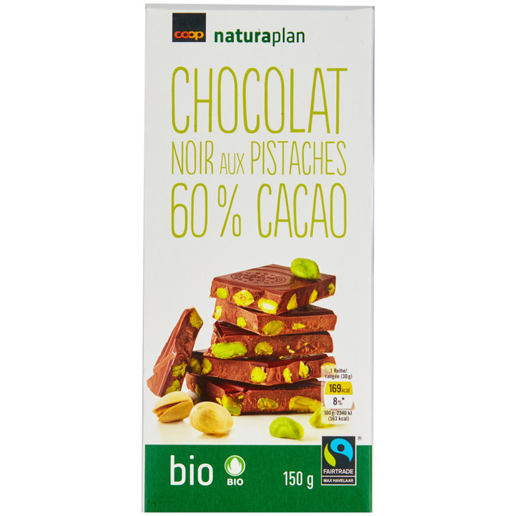 Dark - Naturaplan Organic Fairtrade Dark Chocolate Bar with Salted Pistachios