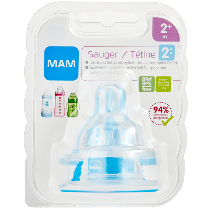 Baby Bottles & Accessories - MAM Silicone Teat Size 2 2 Months+ 2 Pieces