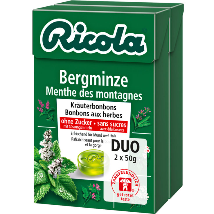 Herbal & Cough Sweets - Ricola Sugarfree Mountain Mint Lozenges 2x50g