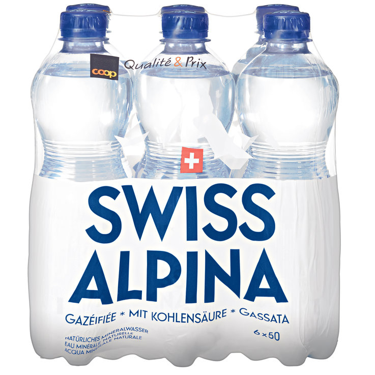 Multipacks under 1 Liter - Swiss Alpina Blue Carbonated Mineral Water 6x50cl