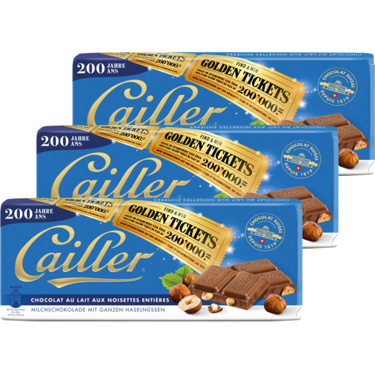 Milk with Nuts - Cailler Milk Chocolate Bars with Hazelnuts 3x100g