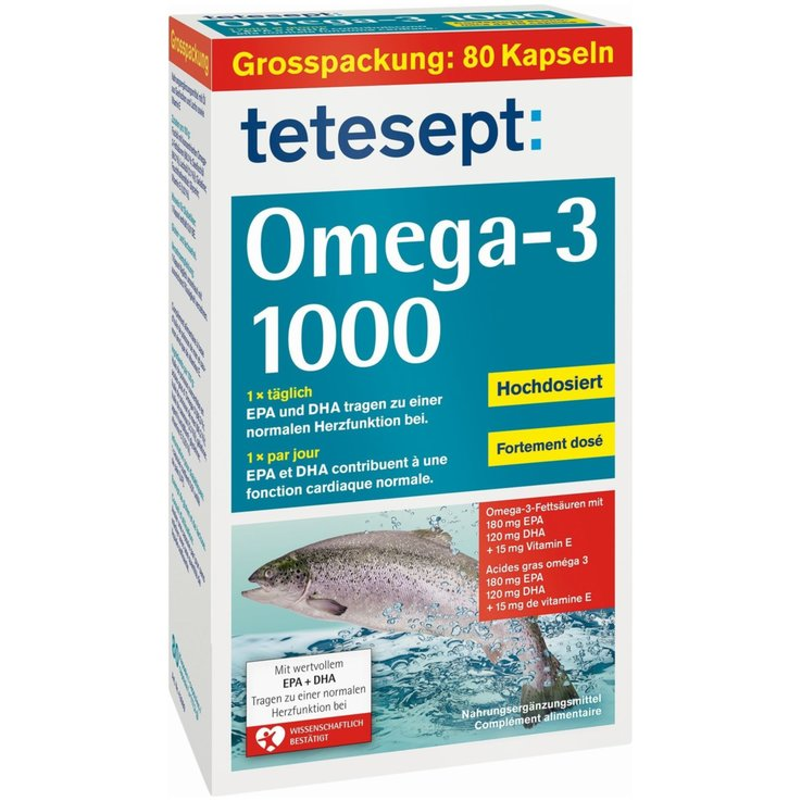 Medicine Cabinet - Tetesept Omega 3 Salmon Oil Tablets 80 Pieces