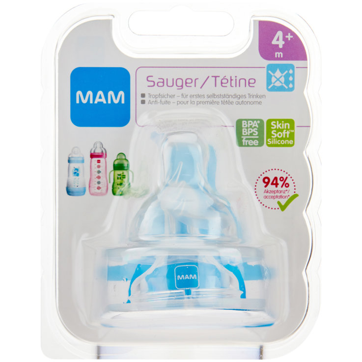Baby Bottles & Accessories - MAM Non-Drip Silicone Teats 6 Months+ 2 Pieces