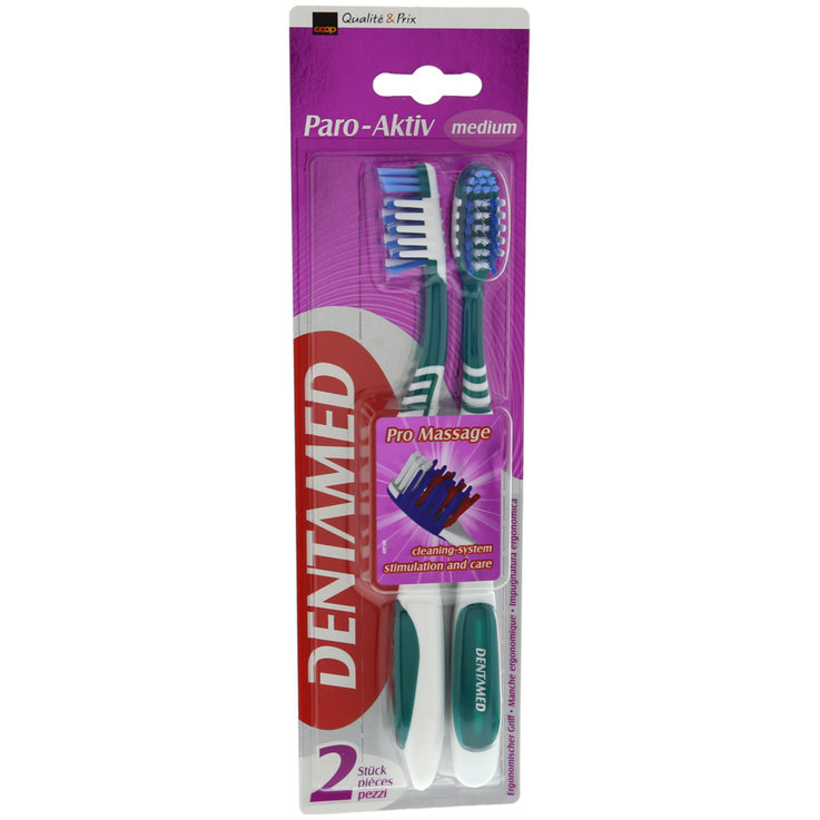 Brosses à dents pour adultes - Dentamed Brosses Paro-Aktiv Medium 2 pièces