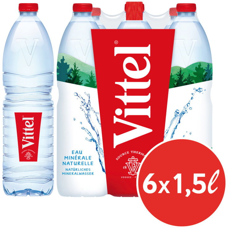 Multipacks more than 1 Liter - Vittel Natural Mineral Water 6x1.5l