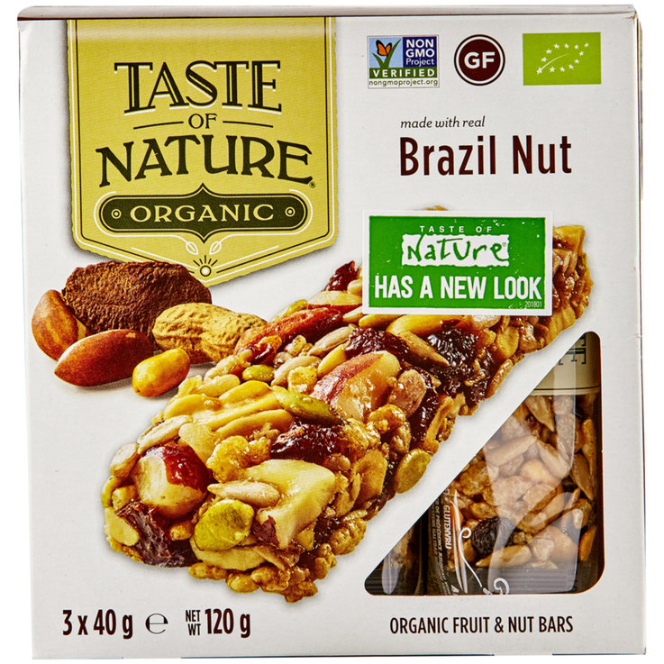 Bars without Chocolate - Taste of Nature Organic Brazilian Nut Fruit Bars 3 Bars
